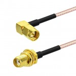 """SMA Male R/Angle to SMA Female RG316 Coaxial Cable Assy 15cm 6"""""""
