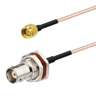 SMA Male straight to BNC Female RG316 Coaxial Cable Assy 15cm 6""