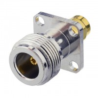 NA12 N Female to SMA Male 4 Hole Flange Adapter