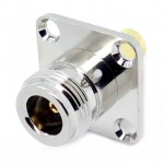 NA14 N Female to SMA Male 4 Hole Large Flange Adapter